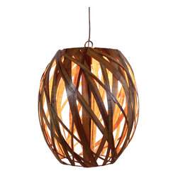 "Bodner Chandeliers - Pono Chandelier - From the ""Beehive Glow"" collection, Pono is a hand a sculpted, woven pendant chandelier using sustainably harvested Koa wood from the big Island of Hawaii. Made in Hawaii, this piece is well suited for both island style homes as well as modern and transitional designed spaces. Its warm glow is stunning day or night. The single down light can be fitted with any LED, Edison or fluorescent type ""A"" lamp, up to 100 watts. A three light spiral is available for an additional charge. Included with 3' of cable (additional cable/cord upon request)"