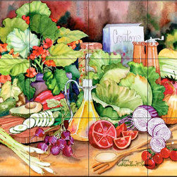 The Tile Mural Store (USA) - Tile Mural - Garden Salad  - Kitchen Backsplash Ideas - This beautiful artwork by Kathleen Parr McKenna has been digitally reproduced for tiles and depicts a colorful kitchen scene with vegetables.  Our kitchen tile murals are perfect to use as part of your kitchen backsplash tile project. Add interest to your kitchen backsplash wall with a decorative tile mural. If you are remodeling your kitchen or building a new home, install a tile mural above your stove top or install a tile mural above your sink. Adding a decorative tile mural to your backsplash is a wonderful idea and will liven up the space behind your cooktop or sink.