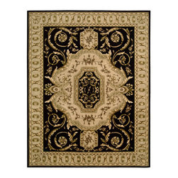 "Nourison - Nourison Versailles Palace VP14 9'6"" x 13'6"" Black Area Rug 77486 - Sound the fanfare! This glorious display of ebony, gold and ivory is truly fit for a king. Its gorgeously detailed center medallion resonates with heraldic impact, surrounded by vivid floral motifs that unfurl with voluptuous beauty. A classic egg-and-bracket border provides the final elegant touch."