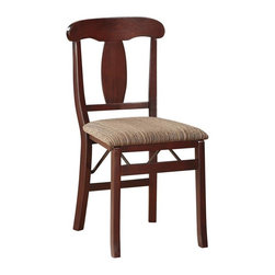 Linon - Triena Emily Folding Chair - Set of 2. Dark Brown Vinyl Padded Seat. Fully Assembled. Weight Limit: 250 lbs. Rich Espresso Finish. Item dimensions when folded: 37 in. W x 17 in. D x 7 in. H. Overall Dimensions: 17.75 in. W x 19.25 in. D x 35 in. H (30.86 lbs)Stylish seating with the convenience of a folding chair. This pair of folding chairs adds an extra dash of elegance for dining or entertaining. The wood frames feature a classic design and a wipe clean, vinyl padded seat with the appearance of leather, and a rich Espresso finish. Front and rear supports provide extra stability. The space saving chairs fold for easy set up and storage.