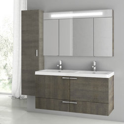 ACF - 47 Inch Grey Oak Bathroom Vanity Set - This bathroom vanity set is a his/her set perfect for your master bathroom. It comes complete with a vanity cabinet, ceramic double bathroom sink, medicine cabinet, and tall storage unit. It was made in Italy by ACF and comes in a gray oak finish. The vanity is wall mounted and has a contemporary design. Set Includes:. Vanity Cabinet (2 Doors,2 Drawers). High-end fitted ceramic sink. Wall mounted lighted medicine cabinet. Vanity Set Features . Vanity cabinet made of engineered wood. Cabinet features waterproof panels. Vanity cabinet in grey oak finish. Cabinet features 2 doors, 2 soft-closing drawers. Faucet not included. Perfect for modern bathrooms. Made and designed in Italy. Includes manufacturer 5 year warranty.