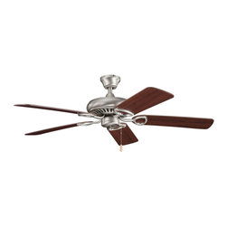 "Kichler 52"" Ceiling Fan - Antique Pewter - 52"" Ceiling Fan. From the Sutter place collection, this lighting ceiling fan features a clean antique pewter finish that perfectly compliments the warm tones of the five coordinating reversible cherry fan blades. 153mm x 15mm motor size. 52"" blade sweep with 12 blade pitch. Includes 4"" downrod with 1"" (O.D). Pull chain, 3 speeds forward and reverse. Optional remote controls and wall controls available. Downlight optional light fixtures available. Low ceiling adaptable. Flush mount canopy (included)"