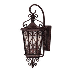 Savoy House - Savoy House 5-421-56 Felicity Wall Mount Lantern - An incredibly detailed and dazzling Karyl Pierce Paxton design with intricate scrolls topping pale cream textured glass. This six-sided collection finished in New Tortoise Shell has refined scrolls on the hood and heavy gauge square arm tubing made strong