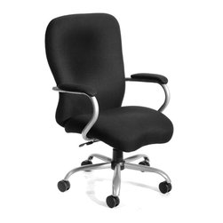 "Boss - Heavy Duty Microfiber Chair - Big mans chair. 2 paddle spring tilt mechanism which can be locked in any position throughout the tilt range. Pneumatic gas lift seat height adjustment. 27"" brushed metal five star base. 3"" double wheel casters. Weight capacity 350lbs. Upholstered in Black Microfiber."