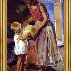 """Joaquin Sorolla Y Bastida-16""""x24"""" Framed Canvas - 16"""" x 24"""" Joaquin Sorolla Y Bastida The Drinking Jug framed premium canvas print reproduced to meet museum quality standards. Our museum quality canvas prints are produced using high-precision print technology for a more accurate reproduction printed on high quality canvas with fade-resistant, archival inks. Our progressive business model allows us to offer works of art to you at the best wholesale pricing, significantly less than art gallery prices, affordable to all. This artwork is hand stretched onto wooden stretcher bars, then mounted into our 3"""" wide gold finish frame with black panel by one of our expert framers. Our framed canvas print comes with hardware, ready to hang on your wall.  We present a comprehensive collection of exceptional canvas art reproductions by Joaquin Sorolla Y Bastida."""