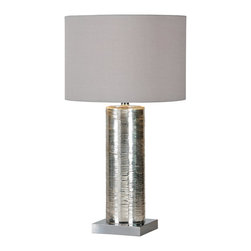 Ren-Wil - LampAmber Collection - This modern lamp has a mercury glass body with a fine line pattern resting on a chrome plated square base with a clear cord. It has a tri-light socket with an grey trim less linen drum shade.