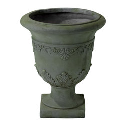 Great Deal Furniture - Puccini Grey with Green Moss Roman Urn Planter - The Puccini Grey with Green Moss Roman Urn Planter adds a touch of elegance and a classical look for your home decor.