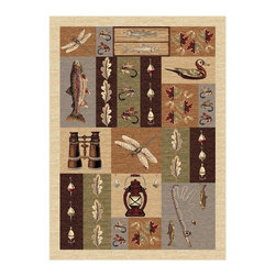 Tayse Rugs - Rectangular Lodge Rug in Beige (10 ft. 3 in. L x 7 ft. 10 in. W (36 lbs.)) - Choose Size: 10 ft. 3 in. L x 7 ft. 10 in. W (36 lbs.)Designed with the modern sportsman in mind. Durable and easy to care. Care: Vacuum and spot clean. Pile height: 0.39 in.. Made from polypropyleneIt is comprised of vivid imagery that will remind you of the simple joy that comes with getting away from civilization. So heed the call of the great outdoors and enjoy a celebration of nature.