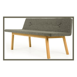 Lin Bench - This new lounge bench offers a slender and uncomplicated silhouette for a stylish playroom. Practical and comfortable, the solid wood frame supports children as well as Mom for reading with a cup of cocoa, and offers a visual quiet below the seating. Helpful in a busy children's space.
