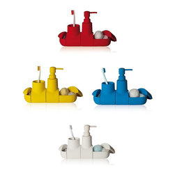 Accessories - Bathroom accessory set. Porcelain with rubber painting finish.