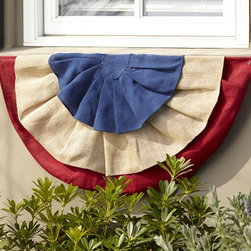 Fourth of July Burlap Window Box Swag - I love that this flag is a half circle and made from burlap, the perfect outdoor material.