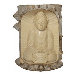 """BaliBoutique - Seated Waru Buddha - This is an exquisite one of a kind hand-carved wooden Buddha Statue. This masterpiece is carved entirely from a single block of natural waru wood. Waru wood is a prize wood for it's natural white, gray, green and brownish color. Buddha's facial expression says it all, calming, gentle peaceful and tranquil.  H x 8""""  , W x 5 3/4 """" , D x  2 3/4'"""