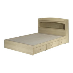 Nexera - Alegria 54 in. Storage Bed Set in Natural Map - 3 drawers  . Shelf and open storage space. Simple but elegantly designed. Natural Maple finish. Assembly required. Headboard: 55.25 in. W x 9.25 in. D x 38.5 in. H (46 lbs.). Bed: 55.25 in. W x 76 in. D x 11.75 in. H (139 lbs.)Alegria is a complete juvenile bedroom collection offering a vast number of configuration possibilities. The collection's simple and elegant design combined with the natural maple wood finish give the flexibility to harmonize this collection to the most exuberant decors. Alegria will appeal to the youngest as well as the more mature teenager. Storage capacity has been optimized to help keep a tidy bedroom. Designed to go with the 3 Drawer Mates Bed (5600-not included).