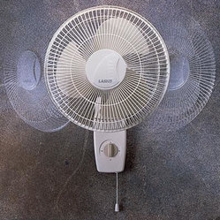 "Lasko Products - 12"" Oscillating Wall Mount Fan - 12"" Oscillating Wall-Mount Fan with 3-speed Whisper-Quiet operation  Widespread Oscillation; Head tilts and locks for directional cooling; Rotary and pull cord controls; Durable  quality construction - grills won't rust or corrode; 3-prong grounded p"