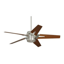 "Emerson - Emerson CF550WABS 54"" Luxe Eco Outdoor Ceiling Fan - Wall Control and Light Kit - Emerson CF550WABS Luxe Eco 54"" Luxe Eco Outdoor Ceiling Fan - Wall Control and Light Kit IncludedSleek modern lines punctuate the Luxe Eco. This smartly styled 54"" fan includes five stylish custom designed blades in a Walnut finish while the motor housing is Brushed Steel. A matching integrated light kit with attractive Opal Matte glass is included as well as a no-light plate usable if desired. Easily control this six speed fan with the included wall control with receiver (optional remote controls available). The powerful and quiet energy-efficient EcoMotor operates up to three times more efficiently than typical ceiling fan motors while the steeper blade pitch lets it move more air using less energy, making this an eco-conscious and savings-conscious choice. Let the Luxe Eco do its part in your home or office to save the environment while sacrificing neither style nor comfort.Emerson CF550WABS Features:"