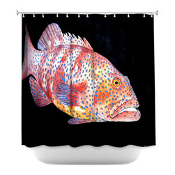 DiaNoche Designs - Shower Curtain Artistic - Deep Sea Life- Grouper Fish - DiaNoche Designs works with artists from around the world to bring unique, artistic products to decorate all aspects of your home.  Our designer Shower Curtains will be the talk of every guest to visit your bathroom!  Our Shower Curtains have Sewn reinforced holes for curtain rings, Shower Curtain Rings Not Included.  Dye Sublimation printing adheres the ink to the material for long life and durability. Machine Wash upon arrival for maximum softness on cold and dry low.  Printed in USA.