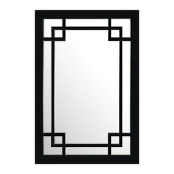 China Furniture and Arts - Elmwood Window Style Mirror - Symmetrical in design with minimalist appeal, this Elmwood Chinese window style mirror will match any home decorating need. Its elegant geometry is accentuated by the straight edges and overlapping corners. The black finish rounds out its quiet beauty. It comes ready to hang with brass hangers installed on the back.