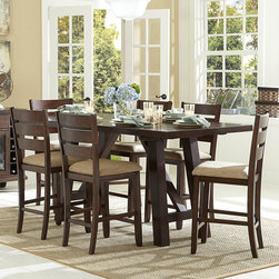 Homelegance - Homelegance Denton Mills 7 Piece Counter Height Table Set w/ Two End Leaves in W - With a unique leaf extension that allows for the length of the rectangular table to increase  the Denton Mills Collection will provide ample space to enjoy meal time with your family and friends. Finished in a warm brown  and flanked by seats that have a natural fabric covering  the transitional design makes for versatile placement in a multitude of dining room decors. A wide  modified A-frame base creates a sturdy platform for the length of this large-scale table. Each end of the table pulls out to accommodate the extension leaves. The coordinating server has glass-fronted cabinets  drawers and wine storage.