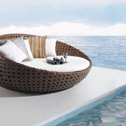 Amiata Rattan Sun Bed - Relax in serenity with the Amiata Rattan Sunbed.  Designed to enjoy both seated and laying positions, this sunbed will surely be a centerpiece of your outdoor decor for years to come.