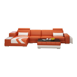 Scene Furniture - Small Sunburst Sectional, Orange, Add Matching Coffee Table - The Small Sunburst Sectional from Scene Furniture adds a very unique touch to any space. The integrated side light and the rolling ottoman, which conveniently nests within the sofa's end, adds functionality to the beauty. The matching coffee table is optional.
