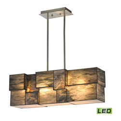 Elk Lighting - EL-72073-4-LED Cubist LED 4-Light Chandelier in Brushed Nickel - Cubes of tiffany glass are assembled into a structure of offsetting staggered cubes, creating an innovative textural expression. With hardware finished in brushed nickel, this series comes with a choice of white or limited edition dusk sky tiffany glass.