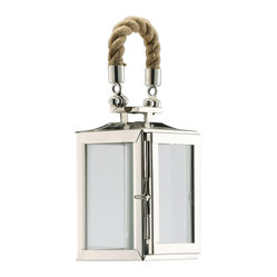 Nautical Rope Polished Silver Modern Square Candle Lantern