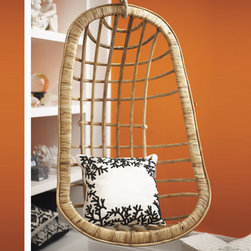 Hanging Rattan Chair by Two's Company® - We love a groovy rattan hanging chair, and at such a reasonable price, this one is very hard to resist.