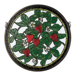 """Meyda Tiffany - Meyda Tiffany 20728 17"""" W X 17"""" H Strawberry Medallion Stained Glass Window - Create flawless elegance with the 17"""" Width X 17"""" Height Strawberry Medallion Stained Glass Window by Meyda Tiffany. Upgrade your decor with this spectacular tiffany window. Features:"""