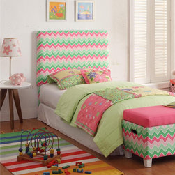 HomePop - Kids' Twin Pink/ Green Chevron Upholstered Headboard - Transform your child's room with this bright pink and green headboard. This headboard attaches to any standard metal twin size frame and features a fun chevron pattern.