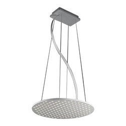 Nimbus - Nimbus Dish pendant light - The Dish pendant light was designed and made by Nimbus in Germany. This modern LED fixture is an efficient and elegant lamp that suits for any environment usage, home or office. The light output of the Squeeze is distributed 100% downwards through a total of 156 conical identations. The fixture has a round shape and consists of a flat light disc made of high-class white Corian supported by fine white stainless steel wires. 156 energy-saving, ultra-modern LED provide a total power of 35 watts integrated in the luminaire and spread a light output which is equivalent to the power of a 200 watts halogen bulb. The lamp is available in color temperatures of 2700 Kelvin (extra - warm white). Also the Dish lamp is available with an upper surface in silver-anodised aluminium or polished stainless steel. For a more conveniently control and dim an infrared remote control can be achieved separately.         Product Details: The Dish pendant light was designed  and made by Nimbus in Germany. This modern LED  fixture is an efficient and elegant lamp that suits for any environment usage, home or office. The light output of the Squeeze is  distributed 100%  downwards through a total of 156 conical identations.  The fixture has a round shape and consists of a flat light disc made of high-class white Corian  supported by fine white stainless steel wires. 156 energy-saving, ultra-modern LED provide a total power of 35 watts  integrated in the luminaire and spread a light output which is  equivalent to the power of a 200 watts halogen bulb. The lamp is available in color temperatures of 2700 Kelvin (extra - warm white). Also the Dish lamp is available with an upper surface in silver-anodised aluminium or  polished stainless steel. For a more conveniently control and dim an infrared remote control can be achieved separately. Details:                         Manufacturer:            NIMBUS                            Designer:            Nimbus        