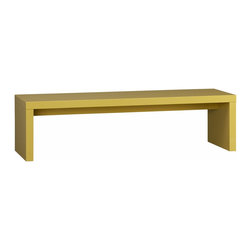 """Moss Grellow Coffee Table-Bench - It's lacquer. It's yellow. It can be a bench or a coffee table. We're sold!Hi-gloss green-yellow lacquer over solid and low-emission engineered woodClean with a soft dry cloth60""""Wx18""""Dx16""""H"""