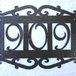 APH13 Spanish style wrought iron address plaques - Our unique hammered iron address plaque with your choice of numbers.  Mounting hardware included.  Made in the USA.