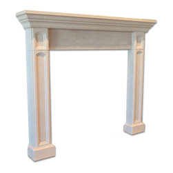 Distinctive Mantel Designs - Alexander Mantel, Sahara - Small but full of style, the Alexander mantel is an attractive transitional mantel complemented by traditional detailing.  Coffered legs and a recessed center piece give the Alexander its distinct visual style.  Its small overall size makes it perfect for any room where space is a concern.  Perfect for any transitional space.
