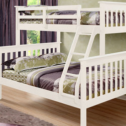 Donco Kids - White Mission Full & Twin Bunk Bed - This sturdy bunk bed boasts gorgeous wooden construction and a chic finish that lend to its timeless design. It features a full bed on bottom and a twin bed on top and includes safety guardrails and a ladder for easy access.   Mattresses and bedding not included Weight capacity : 160 lbs. 59'' W x 62'' H x 78.5'' D Pine / non-toxic paint Assembly required Recommended for ages 6 years and up Imported