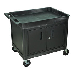 Luxor Furniture - Tub Cart - Steel locking cabinet with piano hinge doors. Inner Cabinet: 18 in. H x 31 in. W x 23 in. D. Fluted 18 in. legs for easy installation of cabinet inserts. Retaining lip around the back and sides of flat shelves. Includes four heavy duty 5 in. casters, two with brake. Has a push handle molded into the top shelf. 32 in. W x 24 in. D shelves. Tub shelves are 2 3/4 in. deepThe Luxor TC series utility carts are made of high density polyethylene structural foam molded plastic shelves and legs that won't stain, scratch, dent or rust.