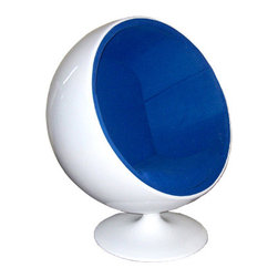 Ball Chair - Blue - When sitting becomes more than a verb, when it is elevated to an actual experience, you know you have just been gifted an education from the genius that is Eero Aarnio. Certainly the Ball Chair is not for the faint of futuristic heart. Perhaps it would look more appropriate on a sci-fi flick sound stage than in your grandmother's living room; and that is exactly the point. The Ball Chair, crafted out of fiberglass, creates a personal bio-sphere - emphasis on sphere - right in the midst of your own household. Once you snuggle down into the Aarnio chair, it supports any manner of sitting positions. Imagine curling into such lush comfort on a rainy day with that book you've been meaning to finish for months. You might finish the entire series before your friends or family can entice you out again. And the best part? It comes in red, white, blue, and for the serious clean-cut rebel: HOT PINK!