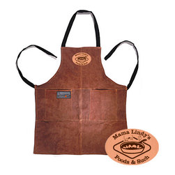 Personalized Leather Barbecue Grilling Apron - If dad's a hardcore griller, then he may appreciate this heavy-duty leather apron!