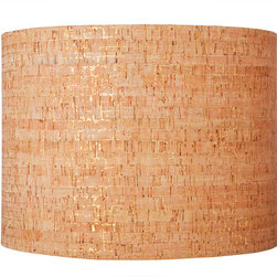 Ziqi Home - Metallic Cork Lampshade - Forget terroir. This shade is terr-wow! It's a drum-shaped lamp shade crafted of natural cork and embellished with metallic gold highlights. It's earthy and glam, and will add a different kind of pop to your room.