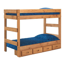Chelsea Home Furniture - Chelsea Home Twin Over Twin One-Piece Bunk Bed with Storage in Ginger Stain - Providing home elegance in upholstery products such as recliners, stationary upholstery, leather, and accent furniture including chairs, chaises, and benches is the most important part of Chelsea Home Furniture's operations. Bringing high quality, classic and traditional designs that remain fresh for generations to customers' homes is no burden, but a love for hospitality and home beauty. The majority of Chelsea Home Furniture's products are made in the USA, while all are sought after throughout the industry and will remain a staple in home furnishings.