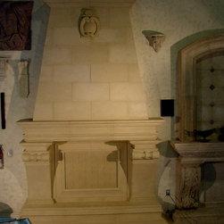 Fireplace surrounds and mantels - custom stone fireplace surrounds and mantels by Realm of Design