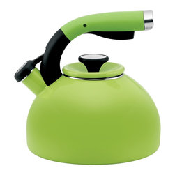 Circulon - Circulon 'Morning Bird' Kiwi Green Enameled Stainless Steel 2-quart Tea Kettle - This modern kettle heats up to 8 cups of hot water for several portions,and its melodic whistle sounds when water comes to the boil. The squeeze-and-pour handle with a textured rubber grip places the spout's lever at your fingertips.