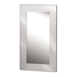 Niro Stainless Steel Mirror - 25.6W x 45.28H in. - Long rectangular shape takes on glass mirror and stainless steel frame. Makes an attractive display above a sofa or leaned against a wall. Could even be used as the focal point of a room above a fireplace mantel.Large mirrors open up small spaces by creating the illusion of more area. And they're easy to decorate with because there's nothing they don't match. Use this one in rooms with taller ceilings or place anywhere you'd normally hang a piece of artwork.Get a designer's touch with mirrored glass and stainless steel. What are you waiting for? Buy today.