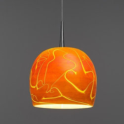 Bruck - Bruck   Delta Pendant Light - Made by Bruck Lighting, 2014.The Delta Pendant Light is an apple shape glass fixture, hand blown by an American master artisan. It features a gorgeous iridescent outer shell of rich color with a unique venous pattern reminiscent of the great Mississippi Delta. Standard cable length is 59 inches.Mounting Options: