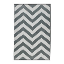 Fab Habitat - Laguna Rug, Paloma & White (6' x 9') - Chevrons are oh-so-chic, and this eco-stylish rug will display the graphic pattern in such an innovative way on your floor. Crafted using Fair Trade principles, this all-weather rug is a design statement you can feel good about. Its bold pattern is created using high quality recycled woven plastic straws, and comes in a variety of sophisticated colors and sizes.