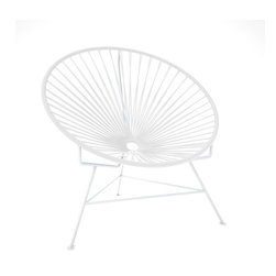 Innit Chair, White Frame With White Weave - A tripod metal base cradles this classic woven vinyl chair design. The modern look is ideal for outdoor use as it's weatherproof and easy to clean, but it's just as stylish inside your home. Pick from a rainbow of colors to add the perfect pop of color or stick with the classic black and white combination.
