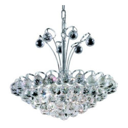 "PWG Lighting / Lighting By Pecaso - Brigitte 8-Light 18"" Crystal Chandelier 6890D18C-SS - Drawing on the Empire style, the Brigitte Collection is transformed with a contemporary edge to create a dramatic explosion of brilliance. The Crystal Flush Mounts and smaller pendants provide a brilliant display of color bringing a decorative drama to any setting."