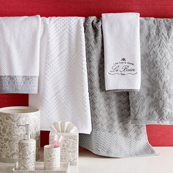 "Horchow - Valencia Hand Towel - LINEN - Valencia Hand TowelDetailsThe piece-dyed 600-gram towels are made of ring-spun cotton.Rice weave texture.Select border color when ordering.Machine wash.18"" x 28"".Imported."