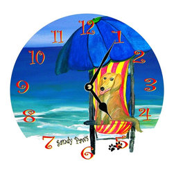 USA - Sandy Paws Wall Clock - Enjoy passing time with my dye sublimated art work on a beautiful 11.25'' hard board clock with a wonderful glossy finish. Clocks are a durable 1/4 '' thick and require a AA battery not included. Made in the USA.
