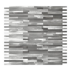Eden Mosaic Tile - Gray Blends Thin Lines Aluminum Mosaic Tile, Sheet - Stacked slabs of pure silver? Almost. These luxurious linear tiles catch the eye and the light with brushed aluminum finish, lending a chic architectural vibe to bath and kitchen areas. Samples are approximately 1/6 to 1/4 of a regular sized sheet. Please note: Sample tiles are not returnable. Only one sample per style is allowed. Only five samples may be ordered.