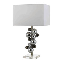 """AF Lighting - AF Lighting Nickel & Chrome Atom Table Lamp w/ Poly Silk Hard Back Shade - AF Lighting 8323-TL Horizon Series """"Atom"""" Table Lamp with White Poly Silk Shade and 3-Way Switch, Finished in Nickel and Chrome"""